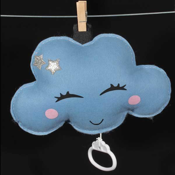 Geboortecadeau muziekwolkje blauw met zilveren sterren