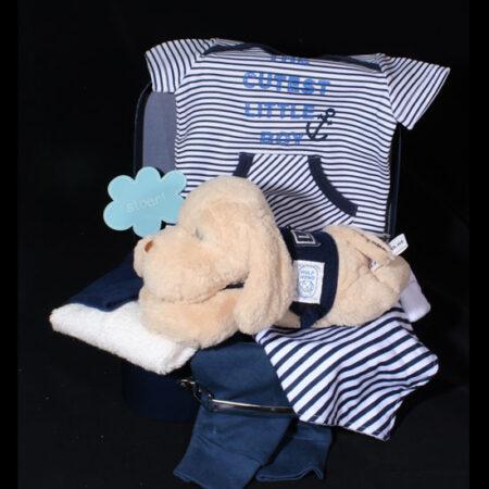 Geboortecadeau jongen in koffertje steun het goede doel Hulphond