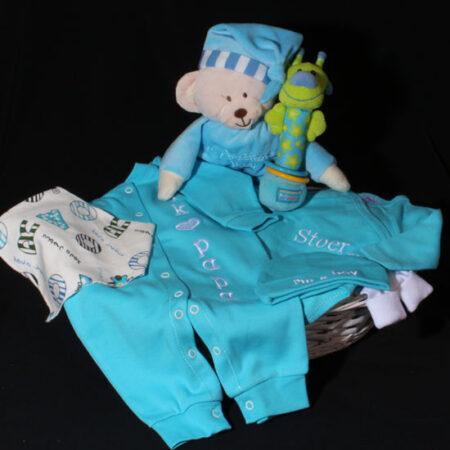 Cadeau voor geboorte jongen - Geboortemand I' me a Boy. Wat een mooie kleur voor een jongen. Een geboortemand met prachtige turquoise jongens kleertjes
