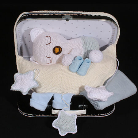 Geboortecadeau jongens - Muziekbeer op wolk in koffertje
